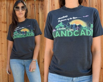 Vintage 80s AutoCAD Software of the Year LANDCADD Tee Screen Stars Cotton Poly Tee M