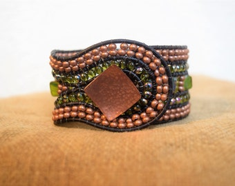 Copper Beaded Cuff Bracelet, Beaded Cuff Bracelet, Beaded Leather Cuff Bracelet, Green Beaded Cuff Bracelet
