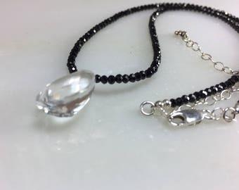 Black Spinel Necklace with Rock Crystal Quartz Briolette in Sterling Silver