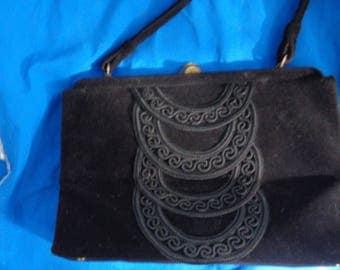 SOURE' Designer, vintage Black 1940's 1950's soutached trim top handle Bag Purse  - 50s - 60s
