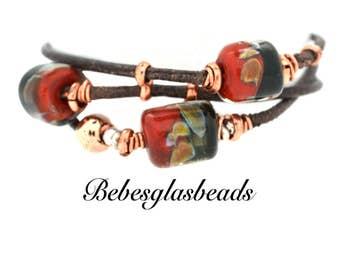 Bebe's Glass Boro Bead 3 Strand  Women's Leather Bracelet Brass Magnetic Clasp Medium