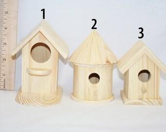 Small Unfinished Wood Bird House, Wood Bird House, Wooden Birdhouse, Lawn Art, Garden, Decorative Bird House, Feeders & Birdhouses, Craft