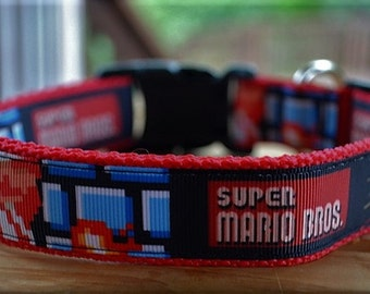 Super Mario Bros. dog collar & or leash on red webbing