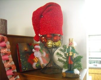 Red Sparkled Stocking Cap with pompom