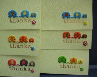 Set of 6 Elephants Thanks Cards