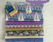 """Fabric Pack Cotton Downton Abbey purple, olive and blue. Large 10"""" square pieces for Patchwork Applique Quilting Freehand Embroidery"""
