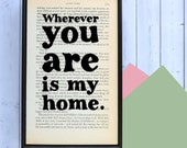 Jane Eyre - Romantic Quote - New Home Gift - Engagement Gift - Anniversary Gifts - Wedding Gift - Housewarming - Wherever You Are Is My Home