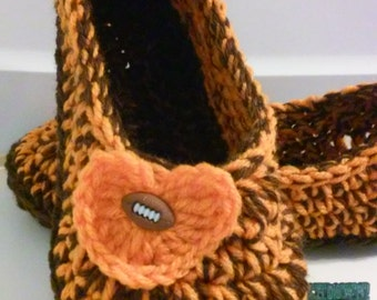 Women's Crochet Team Slippers, Team Colors Crochet Slippers, Hand Crochet Slippers, House Shoes, Crochet Booties, Cleveland Browns Slippers