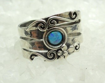 Opal Flower Ring, Silver Ring, Blue Opal Ring, Opal Flower, Simple silver Ring, Promise Ring, Ring size 7.5, Engagement Ring, Gift, Under 50