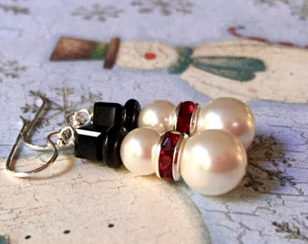 Large White Frosty Snowman Earrings. You Choose Ear Wire and Rondelle Color