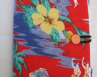 E-reader cover, Samsung Galaxy Tablet 2 Nook, iPad mini, repurposed fabric, red, palm trees, hula girls