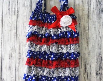 Baby Romper - 4th of July Romper - American outfit - Baby Sunsuit - Bubble Romper - Ruffle Bottom - Girls 4th of July Outfit- Flag