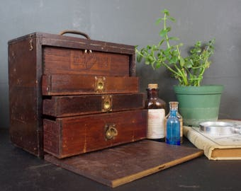 Small Antique Wood Machinist Chest / Cabinet / Tool Box