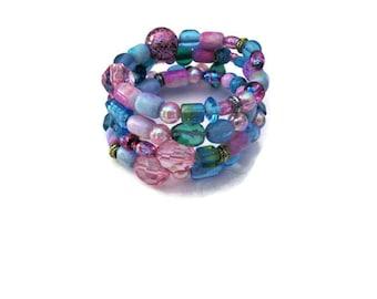 Pink Blue Beaded Memory Wire Bracelet Bohemian Hippie Gypsy Bracelet