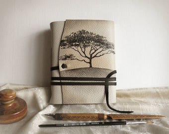 white leather journal, custom monogram, personalized leather journal with vintage style paper - Mysterious Tree