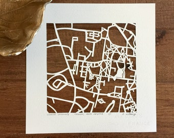 Clemson or Florida State University hand cut map