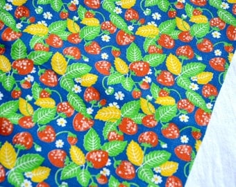 Vintage Fabric - Strawberry Blossom on Royal Blue Broadcloth - By the Yard