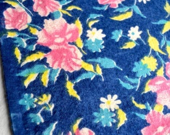 Vintage Flannel Fabric - Pink Flowers on Navy Blue
