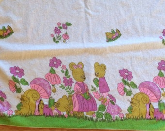 Adorable Vintage Baby Receiving Blanket or Swaddle
