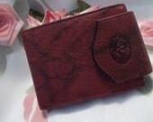 MINT Beautiful Buxton Deep Burgundy Marbled Leather Vintage Rare Bi-Fold Wallet - Womens - Mad Men - Accessory
