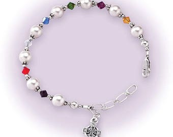 1st Holy Communion Bracelet, with Swarovski crystal beads, Celtic cross charm