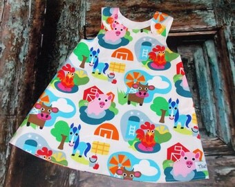 Down on the Farm Aline Dress Baby Sz 0 3 6 12 18 24 Months Birthday Barnyard Party Petting Zoo Barn Animals Pig Cow Horse Rooster Chicken