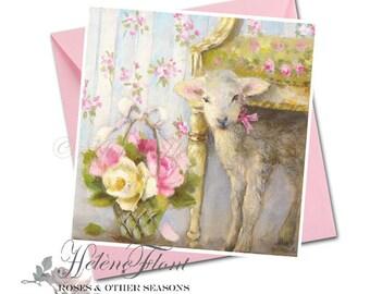 Carte Voeux Naissance  Impression Peinture Bébé Agneau Mouton Trianon Fleurs Panier Mouton Baptême © Hélène Flont Designs