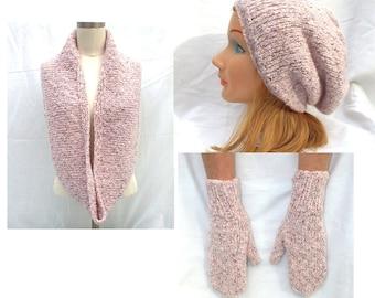 Pink Nubby Textured Tweed Wool Blend Slouch Hat Scarf and Mitten Set Ladies Juniors Teens Misses