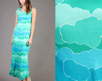 vintage CLOUD PRINT novelty TEAL mint green hippie maxi sun psychedelic dress 70s 1970s small S