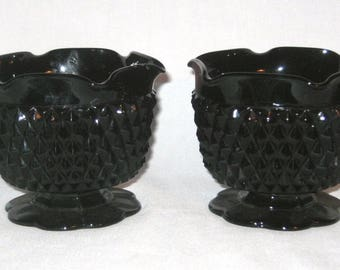 Vintage Pair - BLACK TIARA CANDLEHOLDERS - Indiana Glass Diamond Point - 70's-80's