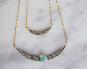 Fluorite and Pyrite Crescent Necklace, Collar Necklace