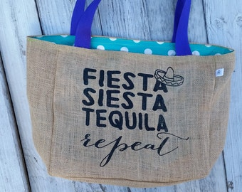 Fiesta, Siesta, Tequila, Repeat Burlap Market Tote Bag, Handmade from a Recycled Coffee Sack