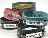 "Leather Cuff Bracelet with ""BREATHE"" Link - benefits the 'Free To Breathe' Non-Profit Org's Efforts Against Lung Cancer"