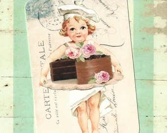 Gift Tags, Bakery, Cake Tags, Pastry Chef, Birthday Tags, Party Favors, Vintage Style