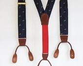 Vintage Men's Blue button on Suspenders - Blue with parrot pattern