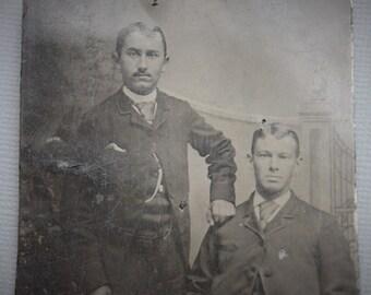 Handsome Victorian Tintype Portrait of Two Gentlemen / Friends / Brothers
