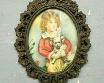 Vintage Victorian Child Painting. Victorian Silk Miniature. Vintage Italian Ornate Frame. Old Masters Miniature. Vintage Brass. Gilded.