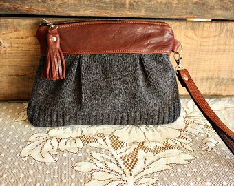 Wristlet/ Pouch/ Clutch in Leather and Upcycled sweater fabric leather tassel trim-made to order--
