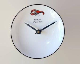 Small Lobster Wall Clock, Just under 6 Inches Silent Porcelain Plate Clock, Kitchen Clock, Unique Wall Clock, Kitchen Wall Decor - 2346