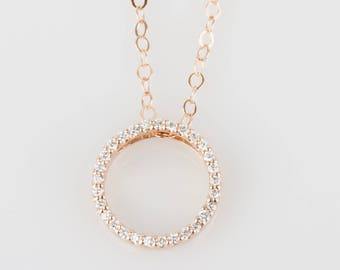Select a Gold - Delicate Diamond Circle Pendant - Solid 14k Gold - Natural White Diamonds - Rose or White or Yellow Gold
