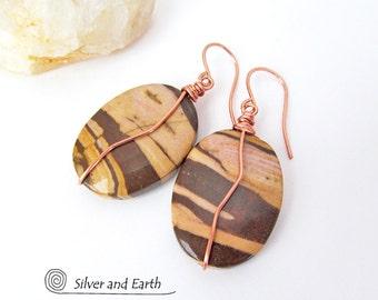 Brown Zebra Jasper Earrings, Natural Stone Jewelry, Earthy Earrings, Stone Dangle, Brown Stone Earrings, Semiprecious Stone Jewelry Handmade