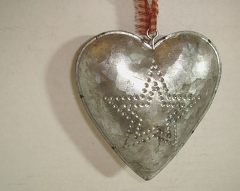 Metal Tin Heart w/hanging loop and Punch Out Design- STAR*/Home Decor/ Supplies*