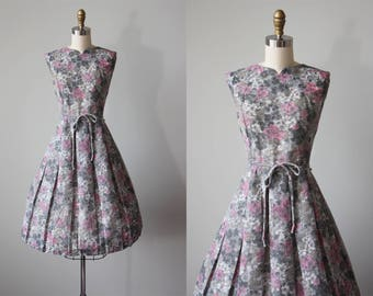 50s Dress - Vintage 1950s Dress - Pink Grey Hydrangea Floral Print Voile Cotton Full Skirt Sundress L - Best for Last Dress