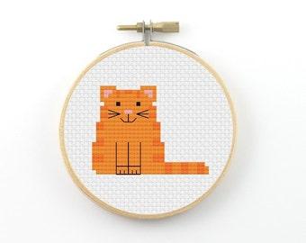 Cat cross stitch pattern, tabby cat pattern, pet pattern, animal pattern, counted cross stitch, cat PDF pattern, mondern cross stitch
