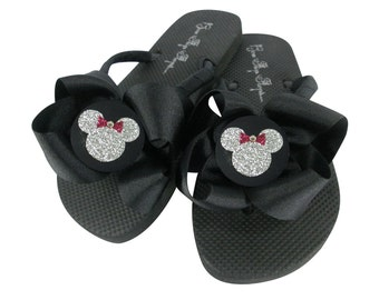 Cute Ladies and Girls Flip Flops with Minnie Mouse in glitter on Bows