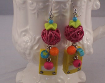 Fun Colorful Bright One of a Kind repurposed found object assemblage earrings by ceeceedesigns on etsy