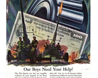 1945 Timken Bearings Vintage Ad, WWII Ad, 1940's Military, War Bonds, Advertising Art, WWII Illustration, Roller Bearings, Great to Frame.