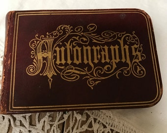 Antique Autographs Ephemera 1870s 1880s Signatures  Friends Friendship Book  Ink Pen Penmanship  Old Leather Book Booklet Brandon Vt Town