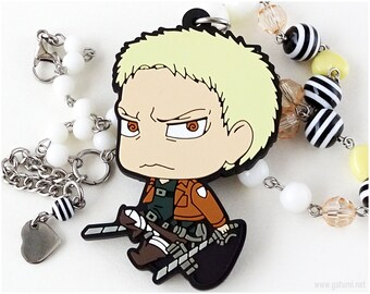AoT Reiner Anime Necklace, Rubber Charm, Beaded Chain, Anime Jewelry, Steampunk, Chibi Character