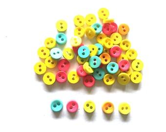 100 pcs  Tiny Button micro button 2 holes size 6mm pink orange yellow light blue green